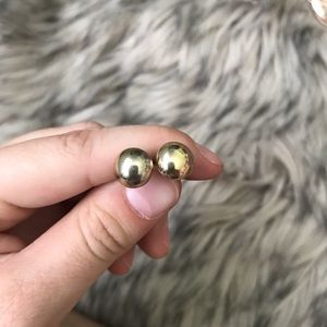 Gold Colored Pearl Earrings